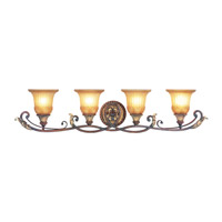 Livex Lighting Villa Verona 4 Light Bath Light in Verona Bronze with Aged Gold Leaf Accents 8554-63