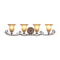 Livex 8554-63 Villa Verona 4 Light 40 inch Verona Bronze with Aged Gold Leaf Accents Bath Light Wall Light