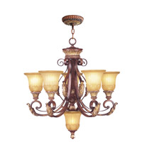 Livex Lighting Villa Verona 5 Light Chandelier in Verona Bronze with Aged Gold Leaf Accents 8555-63