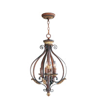 Livex Lighting Villa Verona 4 Light Foyer Pendant in Verona Bronze with Aged Gold Leaf Accents 8556-63