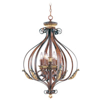 Livex Lighting Villa Verona 6 Light Foyer Pendant in Verona Bronze with Aged Gold Leaf Accents 8557-63