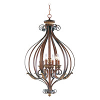 Livex Lighting Villa Verona 6 Light Foyer Pendant in Verona Bronze with Aged Gold Leaf Accents 8558-63