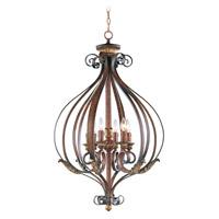 Livex 8558-63 Villa Verona 6 Light 26 inch Verona Bronze with Aged Gold Leaf Accents Foyer Pendant Ceiling Light