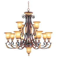 Livex Lighting Villa Verona 12 Light Chandelier in Verona Bronze with Aged Gold Leaf Accents 8559-63