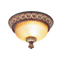 Livex Lighting Villa Verona 2 Light Ceiling Mount in Verona Bronze with Aged Gold Leaf Accents 8562-63