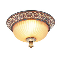 Livex Lighting Villa Verona 2 Light Ceiling Mount in Verona Bronze with Aged Gold Leaf Accents 8563-63