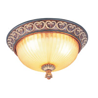 Livex Lighting Villa Verona 3 Light Ceiling Mount in Verona Bronze with Aged Gold Leaf Accents 8564-63