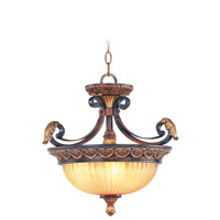 Livex Lighting Villa Verona 3 Light Pendant/Ceiling Mount in Verona Bronze with Aged Gold Leaf Accents 8565-63