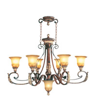 Livex Lighting Villa Verona 6 Light Chandelier in Verona Bronze with Aged Gold Leaf Accents 8566-63