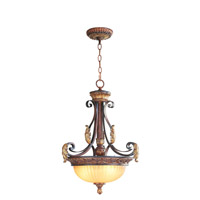 Livex Lighting Villa Verona 3 Light Inverted Pendant in Verona Bronze with Aged Gold Leaf Accents 8567-63