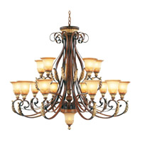 Livex Lighting Villa Verona 15 Light Chandelier in Verona Bronze with Aged Gold Leaf Accents 8568-63