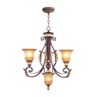 Livex 8574-63 Villa Verona 4 Light 24 inch Verona Bronze with Aged Gold Leaf Accents Chandelier Ceiling Light