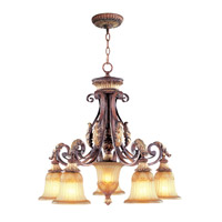 Livex Lighting Villa Verona 5 Light Chandelier in Verona Bronze with Aged Gold Leaf Accents 8575-63