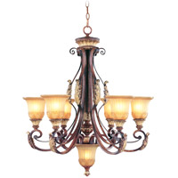 Livex Lighting Villa Verona 6 Light Chandelier in Verona Bronze with Aged Gold Leaf Accents 8576-63