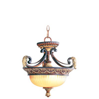Livex Lighting Villa Verona 2 Light Pendant/Ceiling Mount in Verona Bronze with Aged Gold Leaf Accents 8577-63