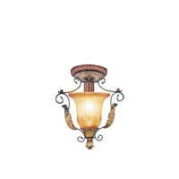Livex Lighting Villa Verona 1 Light Ceiling Mount in Verona Bronze with Aged Gold Leaf Accents 8578-63