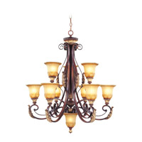 Livex Lighting Villa Verona 9 Light Chandelier in Verona Bronze with Aged Gold Leaf Accents 8579-63
