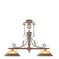 Livex 8582-63 Villa Verona 2 Light 40 inch Verona Bronze with Aged Gold Leaf Accents Island Light Ceiling Light