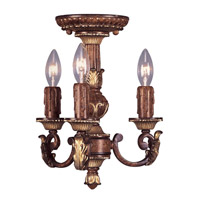 Villa Verona 3 Light 11 inch Verona Bronze with Aged Gold Leaf Accents Mini Chandelier Ceiling Light