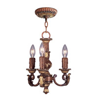 Livex Lighting Villa Verona 3 Light Mini Chandelier in Verona Bronze with Aged Gold Leaf Accents 8583-63
