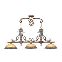 Livex 8584-63 Villa Verona 3 Light 52 inch Verona Bronze with Aged Gold Leaf Accents Island Light Ceiling Light