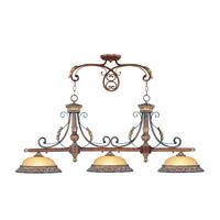Livex 8584-63 Villa Verona 3 Light 52 inch Verona Bronze with Aged Gold Leaf Accents Island Light Ceiling Light