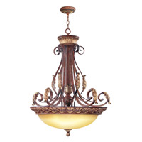 Livex Lighting Villa Verona 4 Light Inverted Pendant in Verona Bronze with Aged Gold Leaf Accents 8587-63
