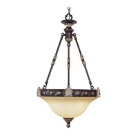 Livex Lighting Sovereign 3 Light Inverted Pendant in Hand Rubbed Bronze with Antique Silver Accents 8604-40