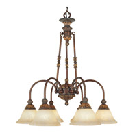 Sovereign 6 Light 27 inch Crackled Greek Bronze with Aged Gold Accents Chandelier Ceiling Light