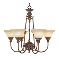 Livex 8605-30 Sovereign 6 Light 27 inch Crackled Greek Bronze with Aged Gold Accents Chandelier Ceiling Light alternative photo thumbnail