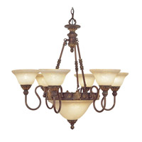 Livex Sovereign 8 Light Chandelier in Crackled Greek Bronze with Aged Gold Accents 8606-30 photo thumbnail