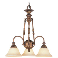 Livex Lighting Sovereign 3 Light Chandelier in Crackled Greek Bronze with Aged Gold Accents 8614-30