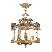 Livex Lighting Chateau 3 Light Pendant/Ceiling Mount in Vintage Gold Leaf 8640-65
