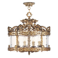 Livex Lighting Chateau 4 Light Pendant/Ceiling Mount in Vintage Gold Leaf 8641-65