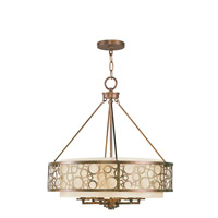Livex Lighting Avalon 6 Light Chandelier in Palacial Bronze with Gilded Accents 8676-64
