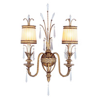Livex Lighting 8802-65 La Bella 2 Light 18 inch Hand Painted Vintage Gold Leaf Wall Sconce Wall Light