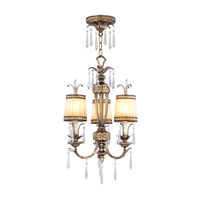 La Bella 3 Light 17 inch Vintage Gold Leaf Pendant/Ceiling Mount Ceiling Light