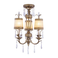 Livex Lighting La Bella 3 Light Pendant/Ceiling Mount in Vintage Gold Leaf 8803-65 alternative photo thumbnail