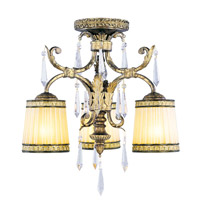 La Bella 3 Light 18 inch Vintage Gold Leaf Ceiling Mount Ceiling Light