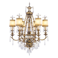 La Bella 6 Light 32 inch Vintage Gold Leaf Chandelier Ceiling Light