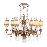 La Bella 6 Light 25 inch Vintage Gold Leaf Chandelier Ceiling Light