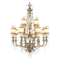 La Bella 12 Light 38 inch Vintage Gold Leaf Chandelier Ceiling Light