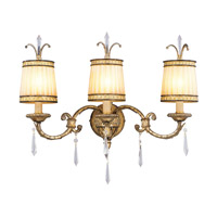 La Bella 3 Light 24 inch Vintage Gold Leaf Bath Light Wall Light