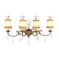 La Bella 4 Light 34 inch Vintage Gold Leaf Bath Light Wall Light