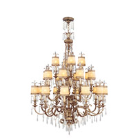 La Bella 22 Light 48 inch Vintage Gold Leaf Chandelier Ceiling Light