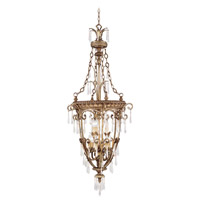 La Bella 9 Light 24 inch Vintage Gold Leaf Foyer Pendant Ceiling Light