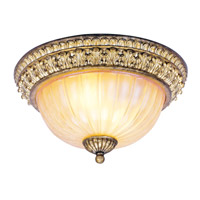 La Bella 2 Light 13 inch Vintage Gold Leaf Ceiling Mount Ceiling Light