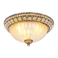 La Bella 3 Light 15 inch Vintage Gold Leaf Ceiling Mount Ceiling Light