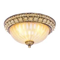 Livex 8819-65 La Bella 3 Light 15 inch Vintage Gold Leaf Ceiling Mount Ceiling Light
