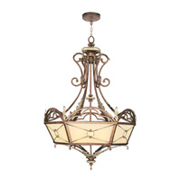 Livex Lighting Bristol Manor 4 Light Chandelier in Palacial Bronze with Gilded Accents 8821-64